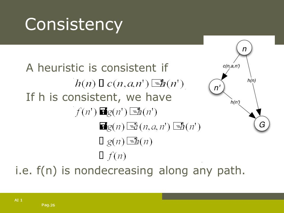 Pag. 26 AI 1 Consistency A heuristic is consistent if If h is consistent, we have i.e. f(n) is nondecreasing along any path.