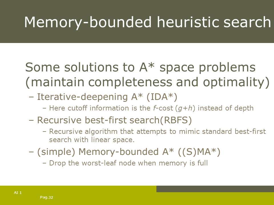 Pag. 32 AI 1 Memory-bounded heuristic search Some solutions to A* space problems (maintain completeness and optimality) –Iterative-deepening A* (IDA*)