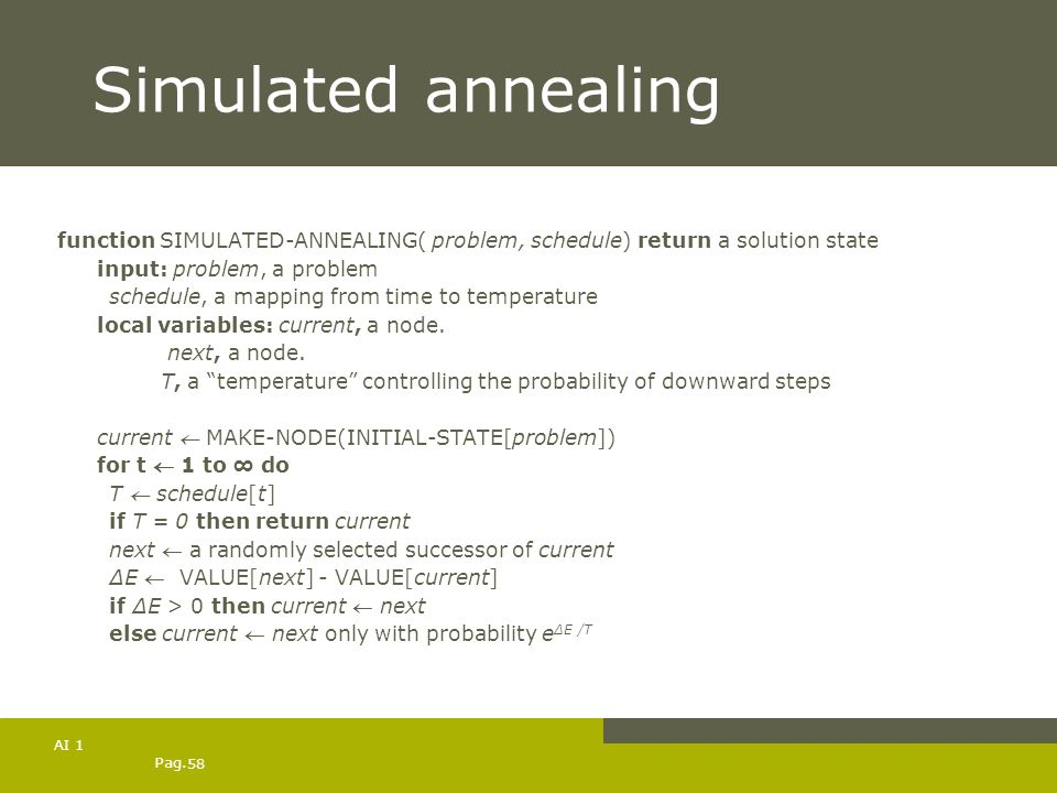 Pag. 58 AI 1 Simulated annealing function SIMULATED-ANNEALING( problem, schedule) return a solution state input: problem, a problem schedule, a mappin