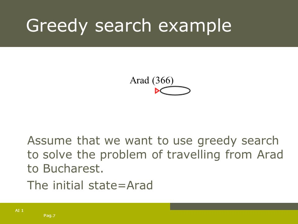 Pag. 7 AI 1 Greedy search example Assume that we want to use greedy search to solve the problem of travelling from Arad to Bucharest. The initial stat