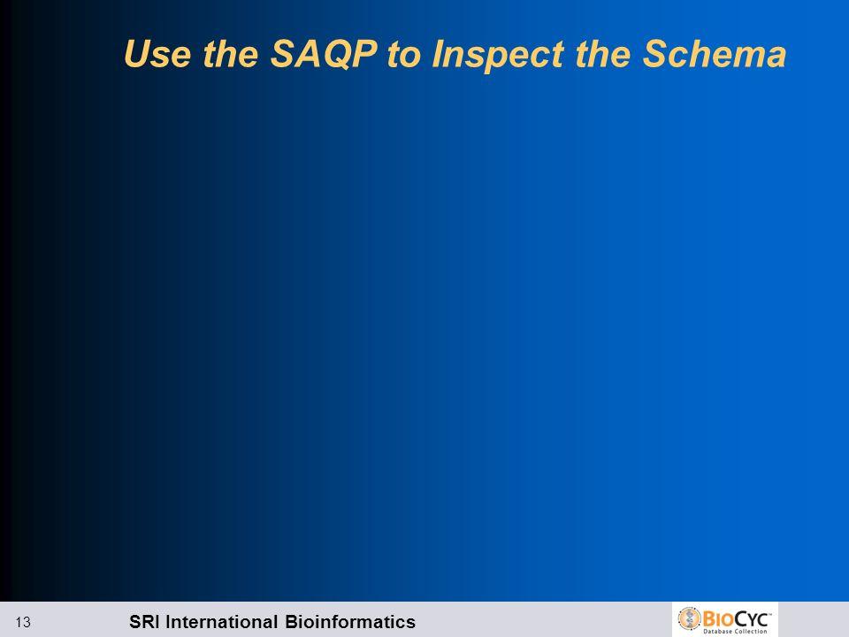 SRI International Bioinformatics 13 Use the SAQP to Inspect the Schema