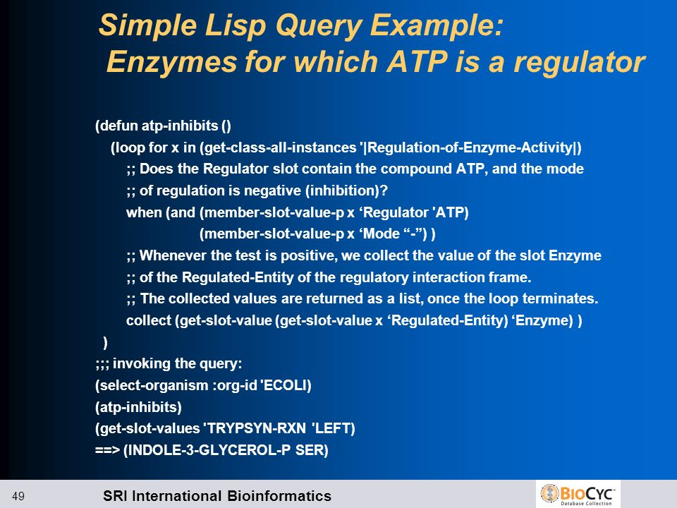 SRI International Bioinformatics 49 Simple Lisp Query Example: Enzymes for which ATP is a regulator (defun atp-inhibits () (loop for x in (get-class-a