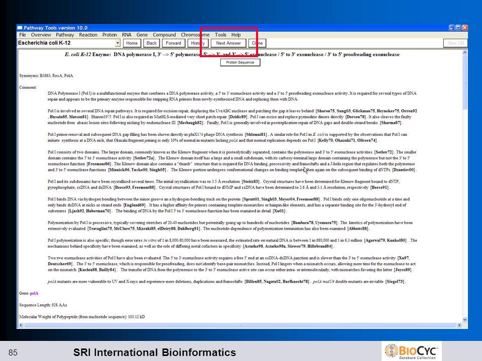 SRI International Bioinformatics 85