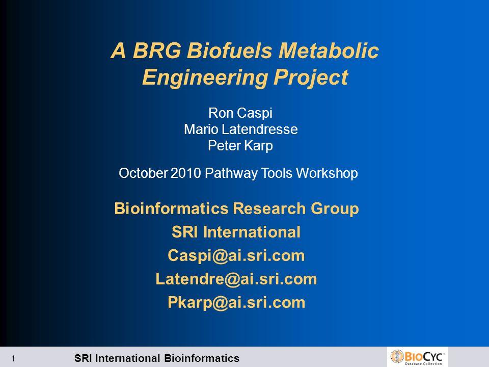 SRI International Bioinformatics 1 A BRG Biofuels Metabolic Engineering Project Bioinformatics Research Group SRI International Caspi@ai.sri.com Laten