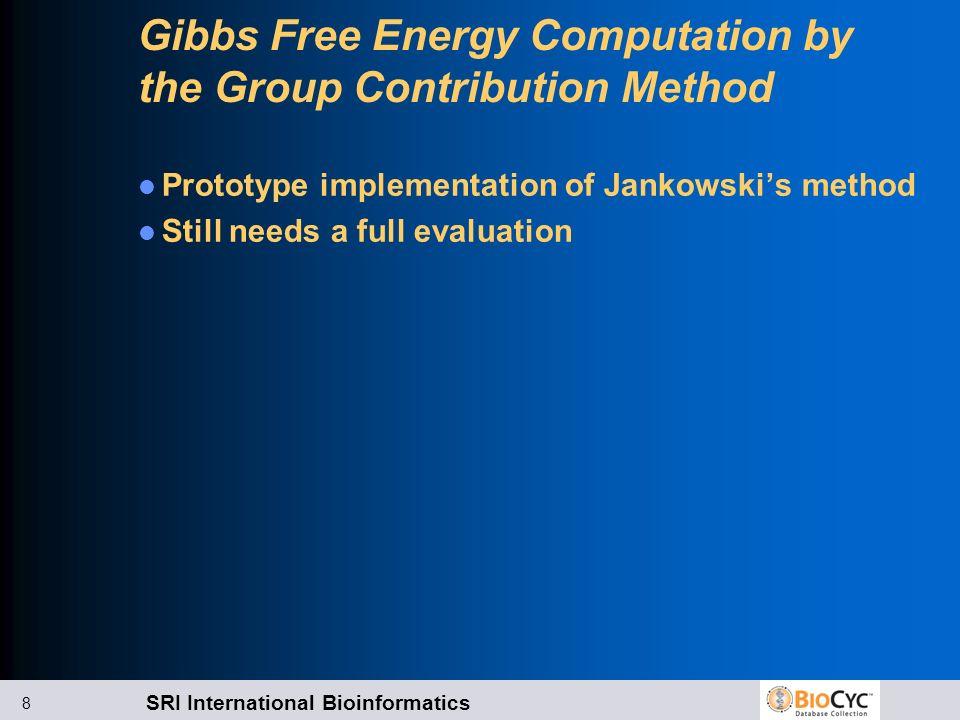 SRI International Bioinformatics 8 Gibbs Free Energy Computation by the Group Contribution Method Prototype implementation of Jankowskis method Still