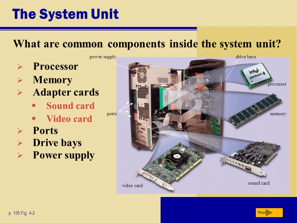 The System Unit What are common components inside the system unit? p. 135 Fig. 4-2 Next Memory Adapter cards Sound card Video card Ports Drive bays Po