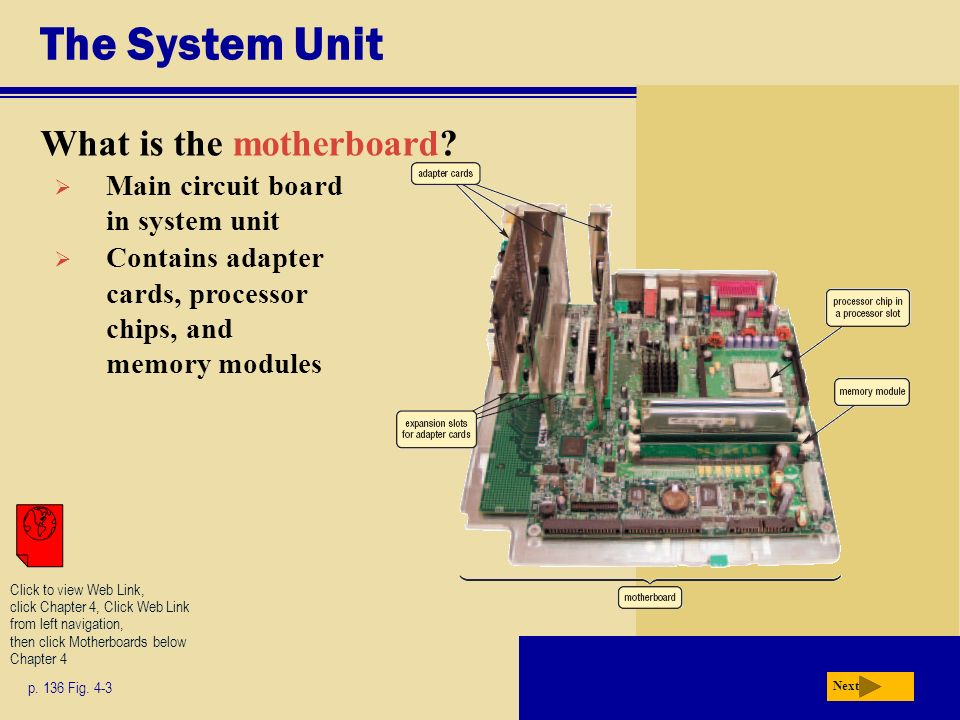 The System Unit What is the motherboard? p. 136 Fig. 4-3 Next Main circuit board in system unit Contains adapter cards, processor chips, and memory mo