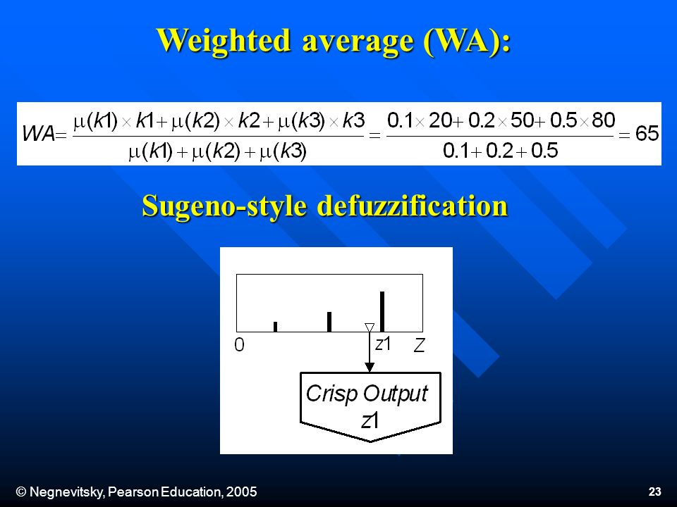 © Negnevitsky, Pearson Education, 2005 23 Weighted average (WA): Sugeno-style defuzzification