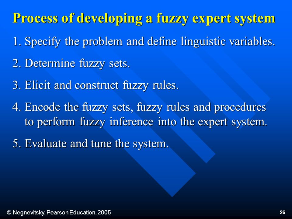 © Negnevitsky, Pearson Education, 2005 26 Process of developing a fuzzy expert system 1.