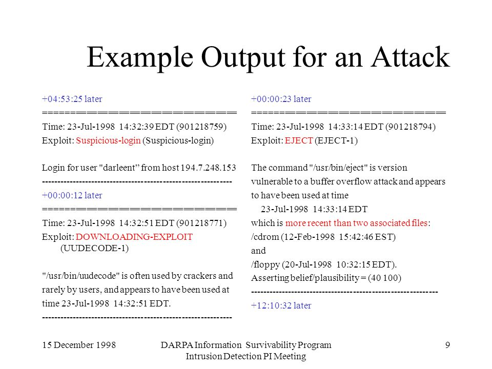 15 December 1998DARPA Information Survivability Program Intrusion Detection PI Meeting 9 Example Output for an Attack +04:53:25 later ==================================== Time: 23-Jul-1998 14:32:39 EDT (901218759) Exploit: Suspicious-login (Suspicious-login) Login for user darleent from host 194.7.248.153 ------------------------------------------------------------- +00:00:12 later ==================================== Time: 23-Jul-1998 14:32:51 EDT (901218771) Exploit: DOWNLOADING-EXPLOIT (UUDECODE-1) /usr/bin/uudecode is often used by crackers and rarely by users, and appears to have been used at time 23-Jul-1998 14:32:51 EDT.