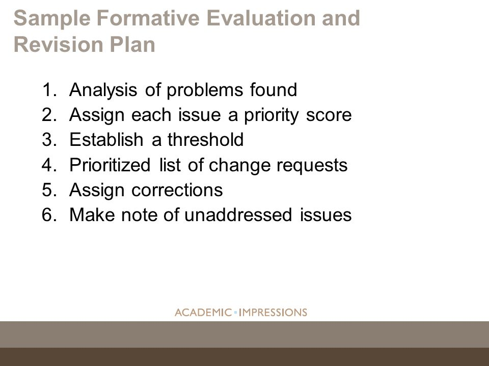 1.Analysis of problems found 2.Assign each issue a priority score 3.Establish a threshold 4.Prioritized list of change requests 5.Assign corrections 6