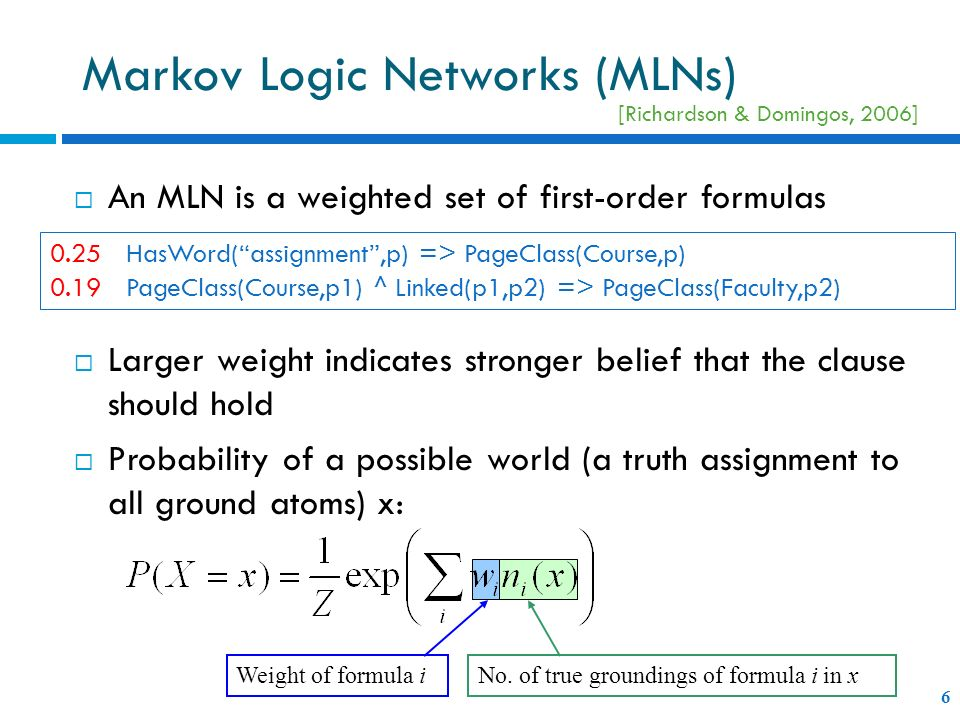 An MLN is a weighted set of first-order formulas Larger weight indicates stronger belief that the clause should hold Probability of a possible world (
