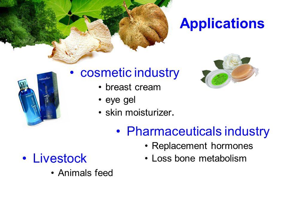 Applications cosmetic industry breast cream eye gel skin moisturizer. Pharmaceuticals industry Replacement hormones Loss bone metabolism Livestock Ani