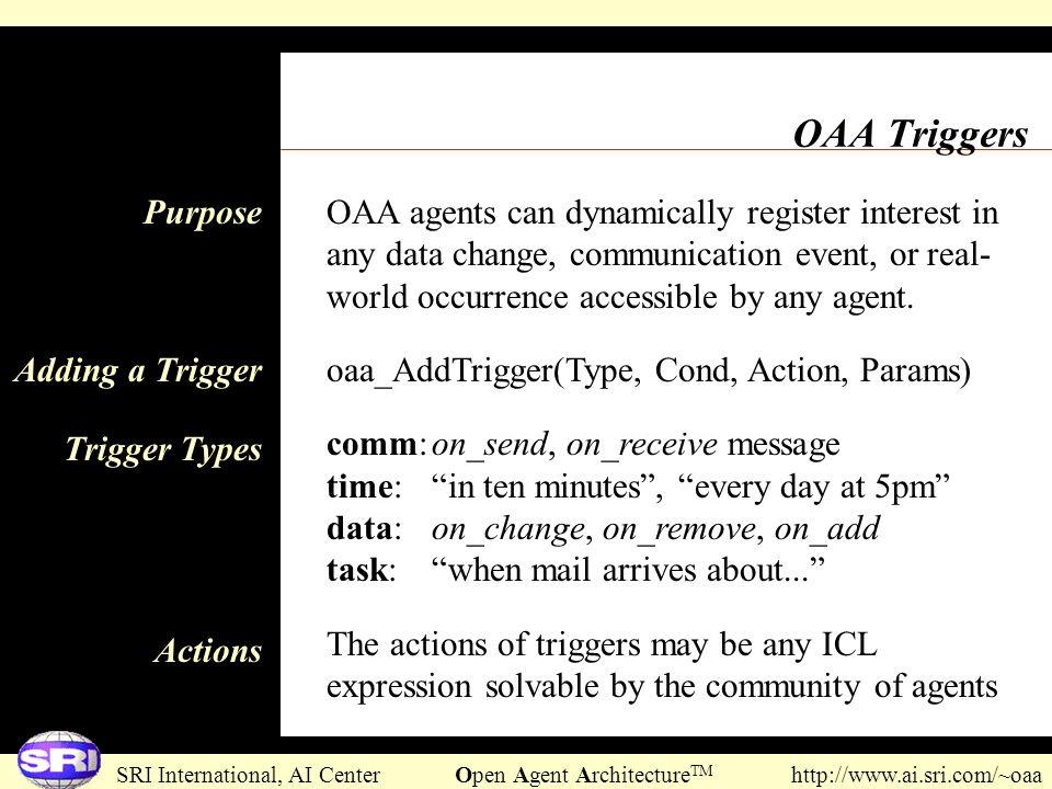 SRI International, AI Center Open Agent Architecture TM http://www.ai.sri.com/~oaa OAA Triggers OAA agents can dynamically register interest in any da