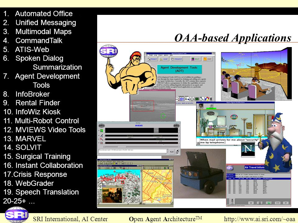 SRI International, AI Center Open Agent Architecture TM http://www.ai.sri.com/~oaa OAA-based Applications 1. Automated Office 2. Unified Messaging 3.