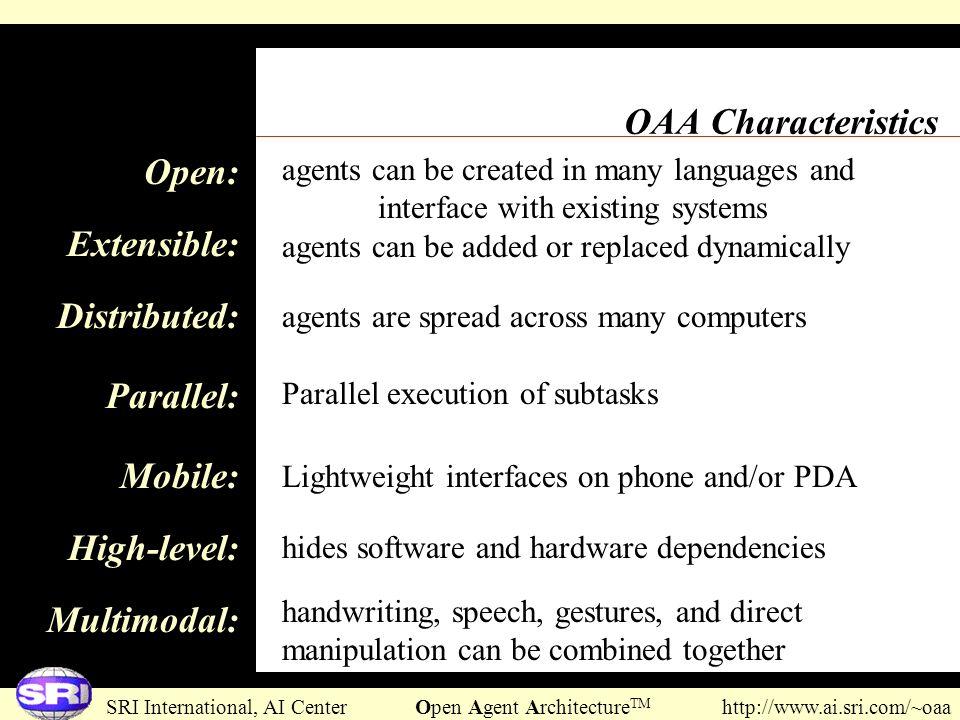 SRI International, AI Center Open Agent Architecture TM http://www.ai.sri.com/~oaa OAA Characteristics Open: Extensible: Distributed: Parallel: Mobile