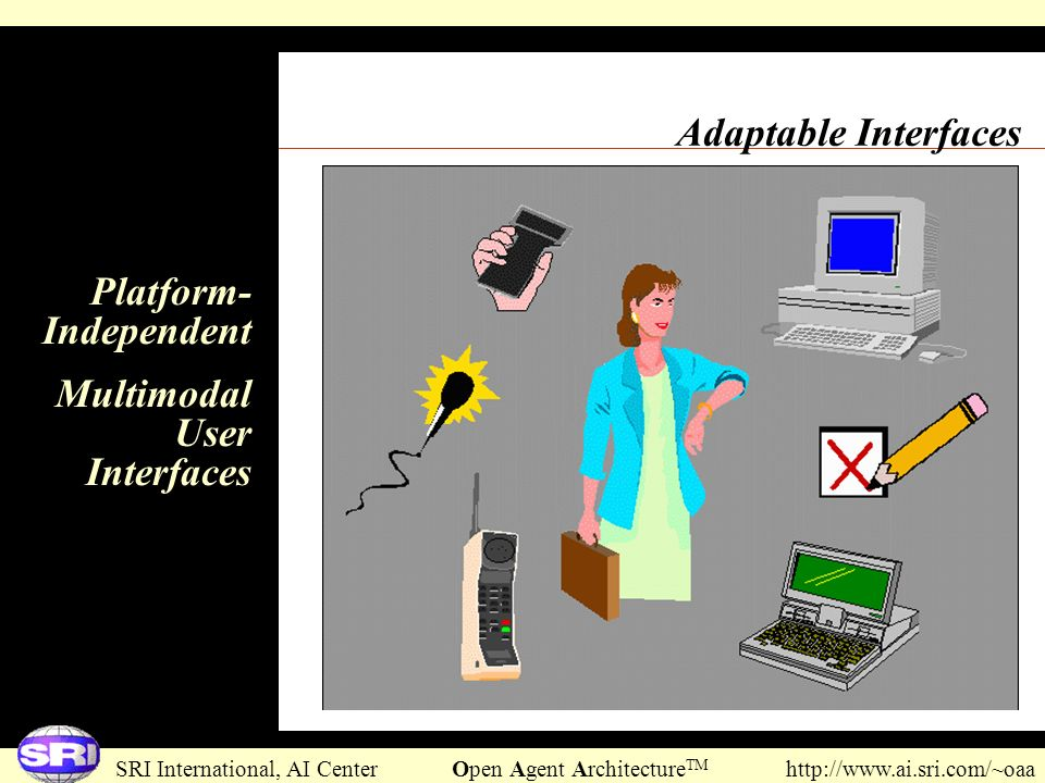 SRI International, AI Center Open Agent Architecture TM http://www.ai.sri.com/~oaa Adaptable Interfaces Platform- Independent Multimodal User Interfac