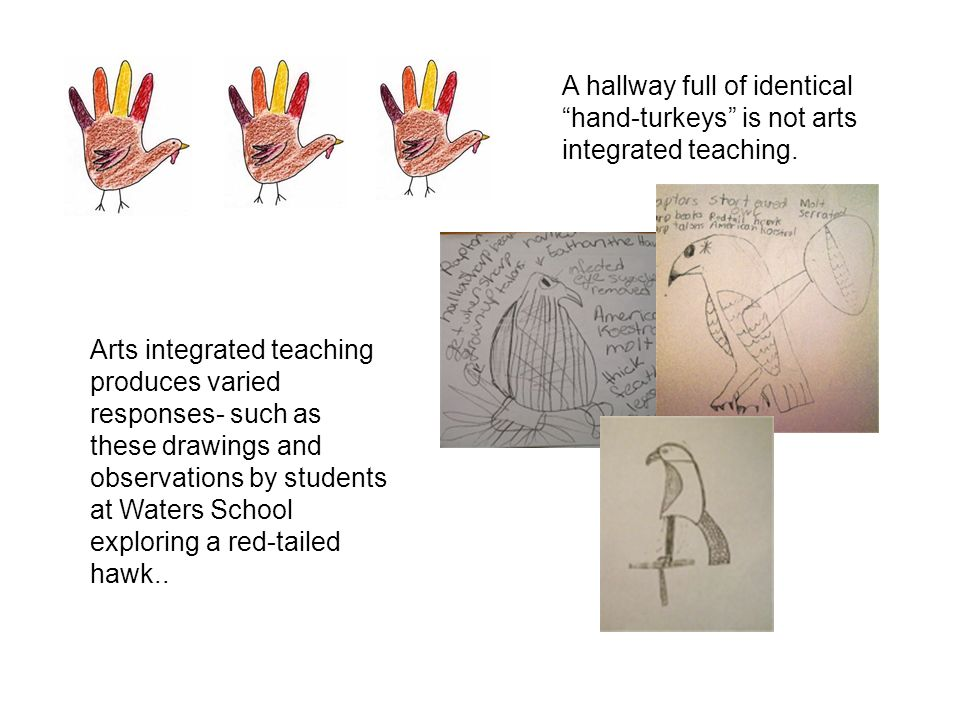 A hallway full of identical hand-turkeys is not arts integrated teaching.