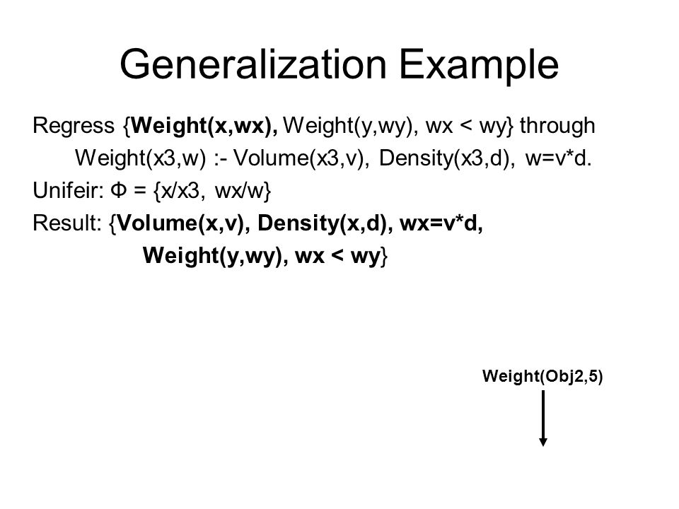 Generalization Example Regress {Weight(x,wx), Weight(y,wy), wx < wy} through Weight(x3,w) :- Volume(x3,v), Density(x3,d), w=v*d.
