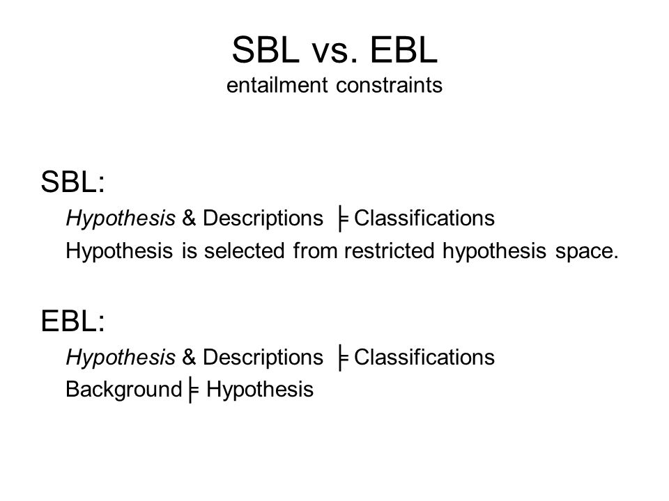 EBL Task In addition to a set of training examples, EBL also takes as input a domain theory, background knowledge about the target concept that is usually specified as a set of logical rules (Horn clauses) and operationality criteria.