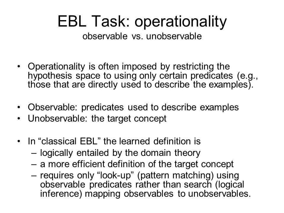 EBL Task: operationality observable vs.
