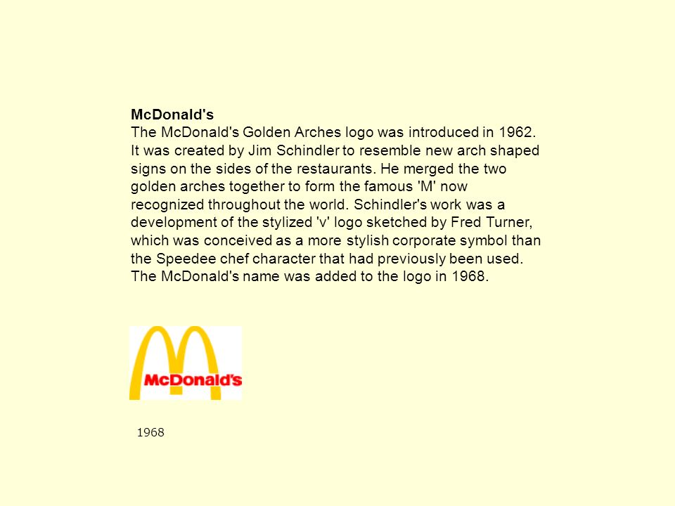 McDonald s The McDonald s Golden Arches logo was introduced in 1962.