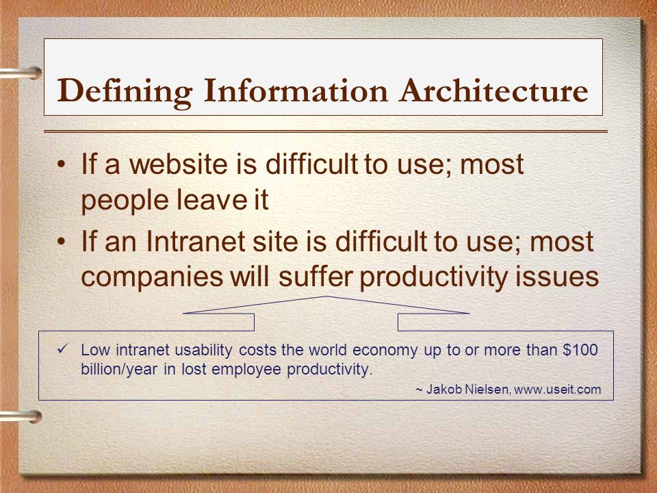 Defining Information Architecture If a website is difficult to use; most people leave it If an Intranet site is difficult to use; most companies will suffer productivity issues Low intranet usability costs the world economy up to or more than $100 billion/year in lost employee productivity.