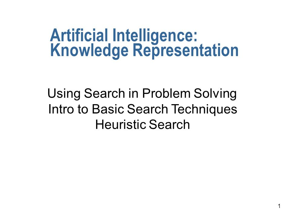 1 Artificial Intelligence: Knowledge Representation Using Search in Problem Solving Intro to Basic Search Techniques Heuristic Search