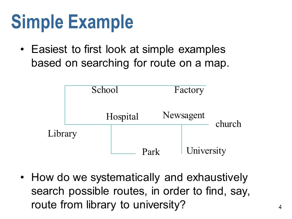 4 Simple Example Easiest to first look at simple examples based on searching for route on a map. How do we systematically and exhaustively search poss