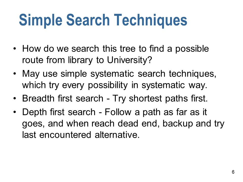 6 Simple Search Techniques How do we search this tree to find a possible route from library to University? May use simple systematic search techniques