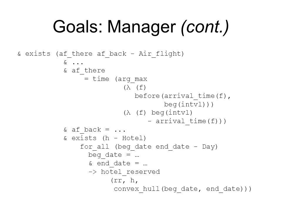 Goals: Manager (cont.) & exists (af_there af_back - Air_flight) &...