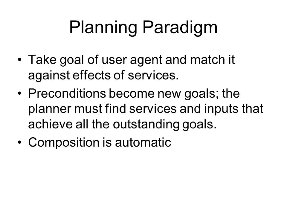 Planning Paradigm Take goal of user agent and match it against effects of services.