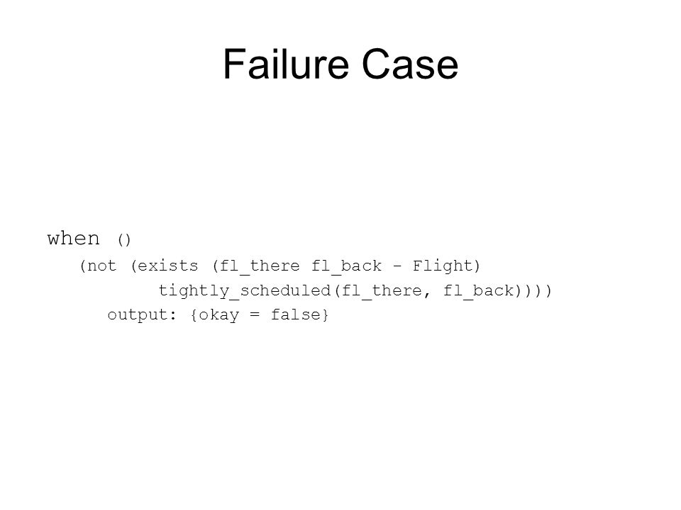Failure Case when () (not (exists (fl_there fl_back - Flight) tightly_scheduled(fl_there, fl_back)))) output: {okay = false}