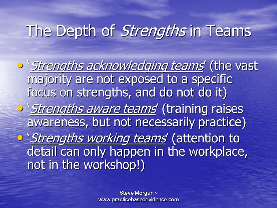 Steve Morgan ~ www.practicebasedevidence.com The Depth of Strengths in Teams Strengths acknowledging teams (the vast majority are not exposed to a specific focus on strengths, and do not do it)Strengths acknowledging teams (the vast majority are not exposed to a specific focus on strengths, and do not do it) Strengths aware teams (training raises awareness, but not necessarily practice)Strengths aware teams (training raises awareness, but not necessarily practice) Strengths working teams (attention to detail can only happen in the workplace, not in the workshop!)Strengths working teams (attention to detail can only happen in the workplace, not in the workshop!)