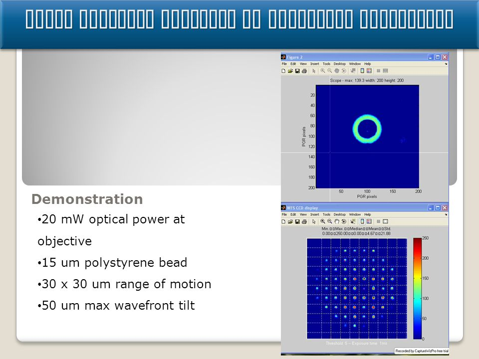 Using particle position in wavefront controller Demonstration 20 mW optical power at objective 15 um polystyrene bead 30 x 30 um range of motion 50 um