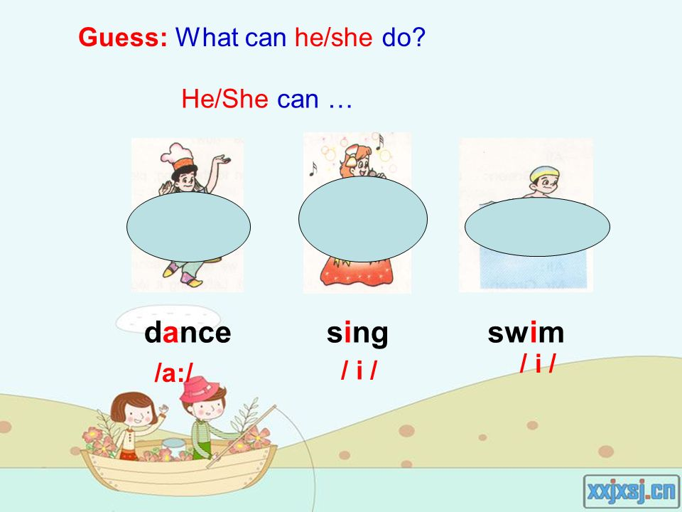 Guess: What can he/she do He/She can … singdanceswim /a:/ / i /