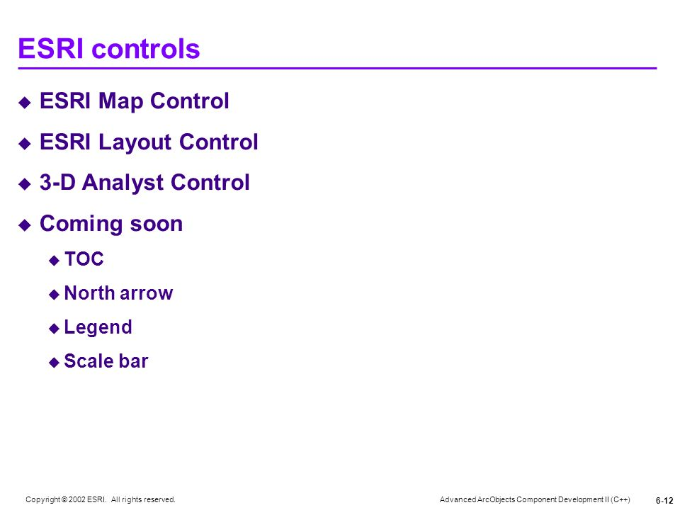 Advanced ArcObjects Component Development II (C++) Copyright © 2002 ESRI. All rights reserved. 6-12 ESRI controls ESRI Map Control ESRI Layout Control