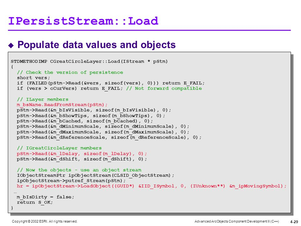 Advanced ArcObjects Component Development II (C++) Copyright © 2002 ESRI. All rights reserved. 4-29 IPersistStream::Load Populate data values and obje