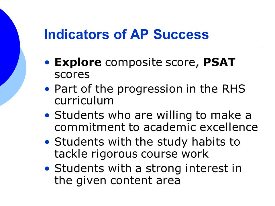 Indicators of AP Success Explore composite score, PSAT scores Part of the progression in the RHS curriculum Students who are willing to make a commitm