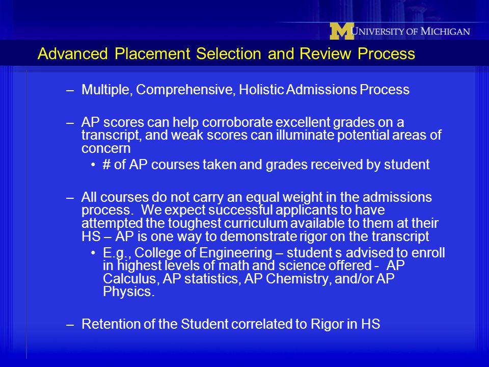 Advanced Placement Selection and Review Process –Multiple, Comprehensive, Holistic Admissions Process –AP scores can help corroborate excellent grades
