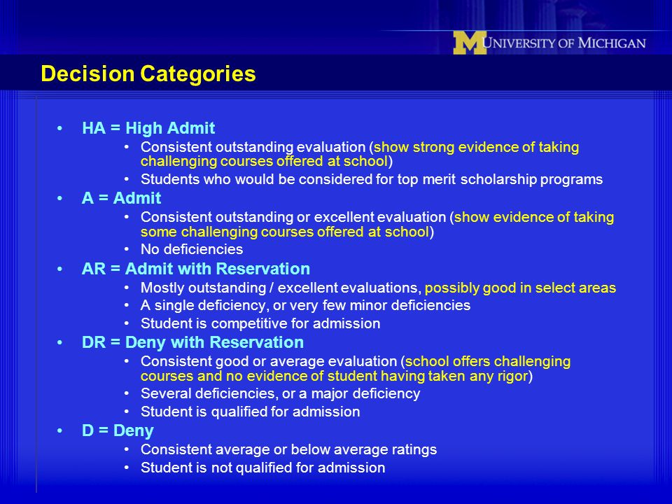 Decision Categories HA = High Admit Consistent outstanding evaluation (show strong evidence of taking challenging courses offered at school) Students