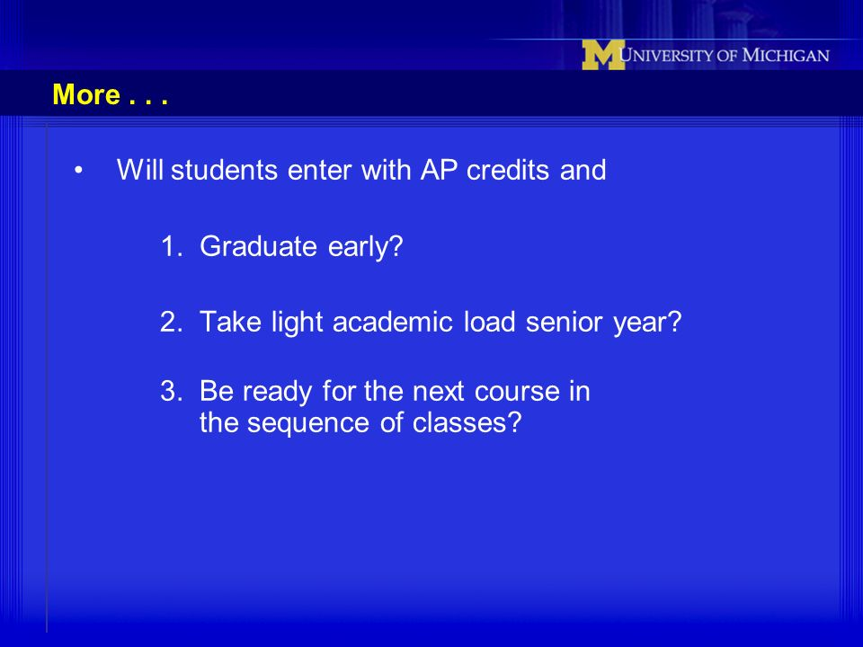 More... Will students enter with AP credits and 1. Graduate early? 2. Take light academic load senior year? 3. Be ready for the next course in the seq