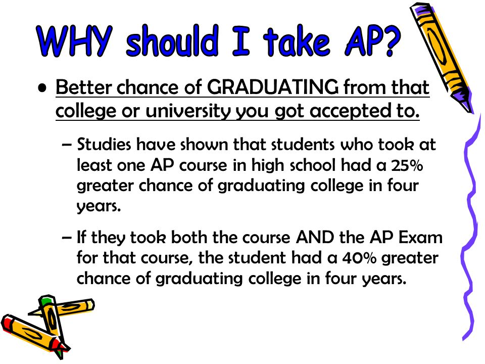 Better chance of GRADUATING from that college or university you got accepted to. –Studies have shown that students who took at least one AP course in
