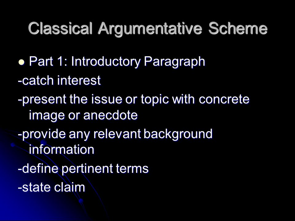 Classical Argumentative Scheme Part 1: Introductory Paragraph Part 1: Introductory Paragraph -catch interest -present the issue or topic with concrete