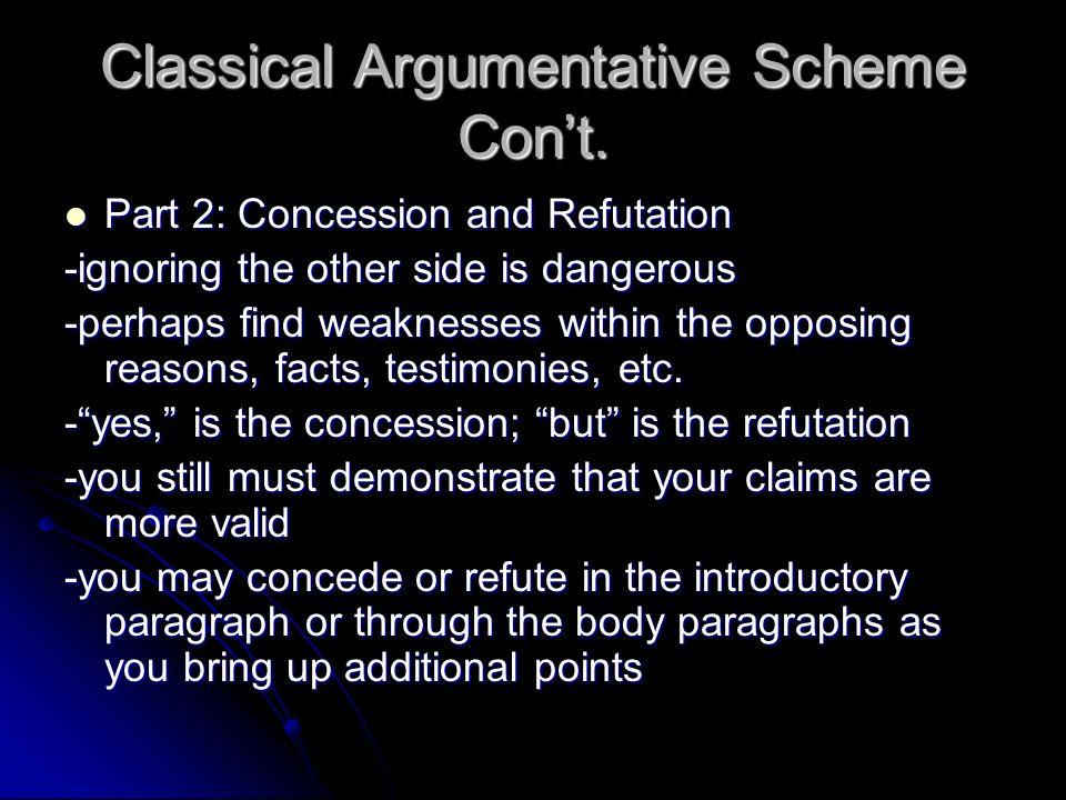 Classical Argumentative Scheme Cont. Part 2: Concession and Refutation Part 2: Concession and Refutation -ignoring the other side is dangerous -perhap