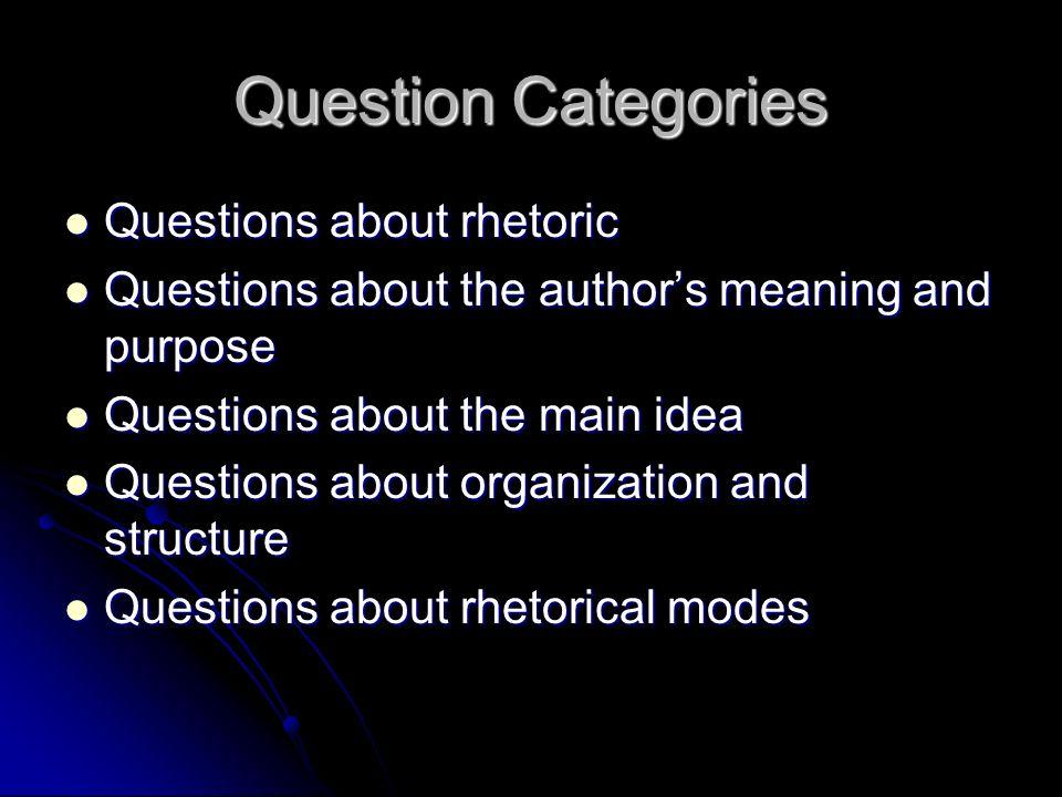 Question Categories Questions about rhetoric Questions about rhetoric Questions about the authors meaning and purpose Questions about the authors mean