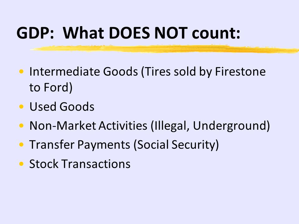 GDP: What Counts: Goods Produced but not Sold (I) Goods produced by a foreign country (Japan) in the U.S. (Honda, Toyota) Government spending on the m