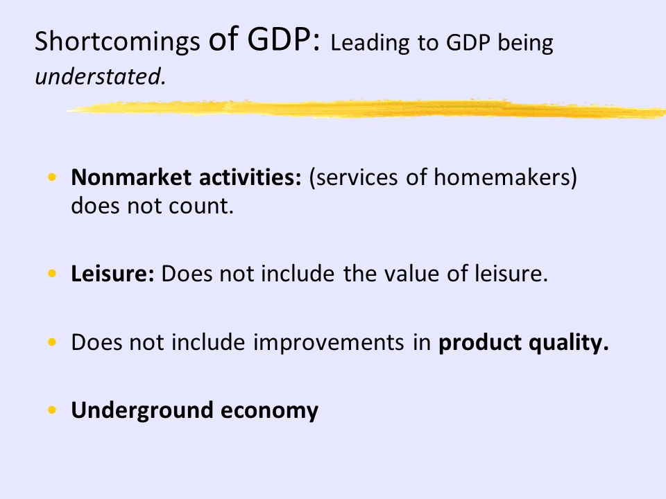 GDP: What DOES NOT count: Intermediate Goods (Tires sold by Firestone to Ford) Used Goods Non-Market Activities (Illegal, Underground) Transfer Paymen