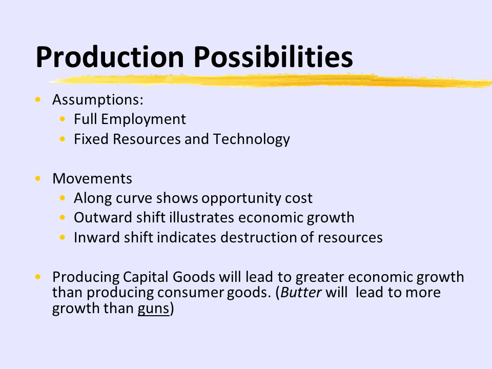 Production Possibilities Assumptions: Full Employment Fixed Resources and Technology Movements Along curve shows opportunity cost Outward shift illustrates economic growth Inward shift indicates destruction of resources Producing Capital Goods will lead to greater economic growth than producing consumer goods.