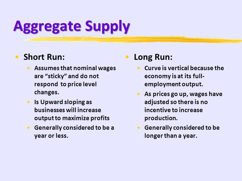 Aggregate Supply Factors: R: resource prices (The CELL/ wages and materials, as well as OIL) E: environment [legal-institutional] (Taxes, Subsidies, m